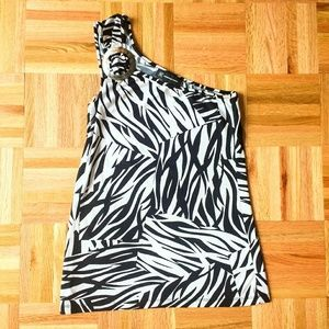 INC One Shoulder Stretchy Zebra Shirt Tank Small